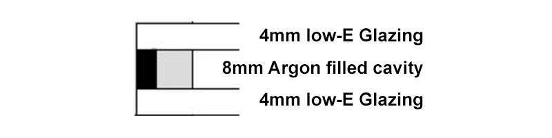 4mm-8mm-4mm Argon filled double glazed unit
