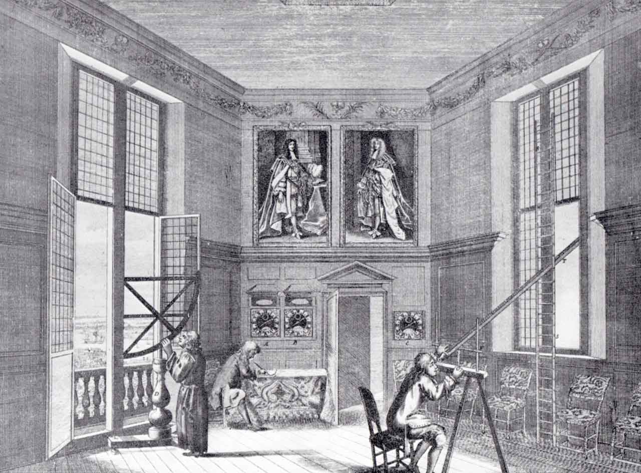 The Octagon Room at the Royal Observatory in the 1670s