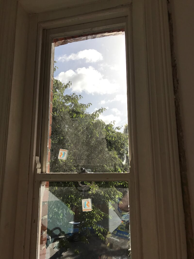 Original sash window double glazed using existing frame as well