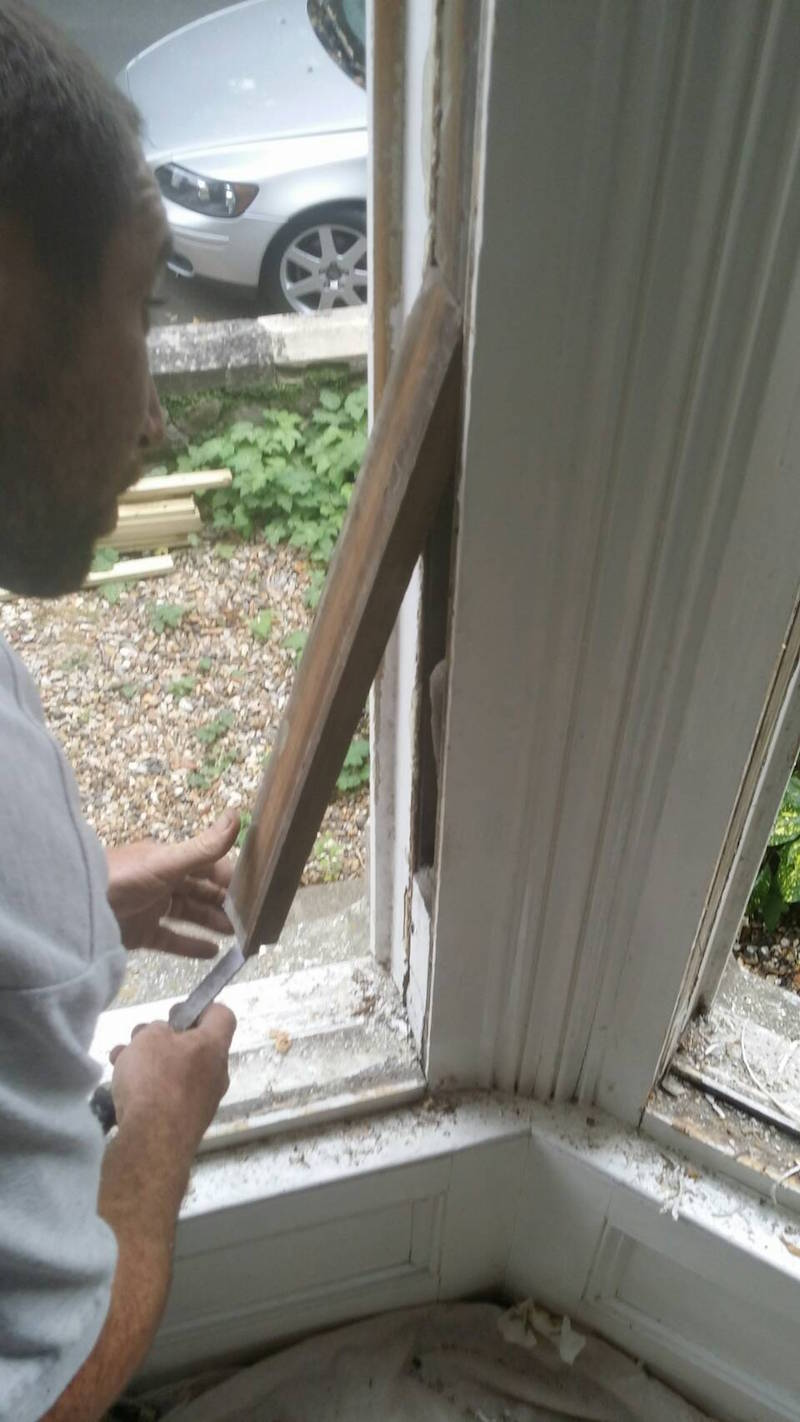 Sash window repair and overhauling, pocket and weight removal to install new sash cords