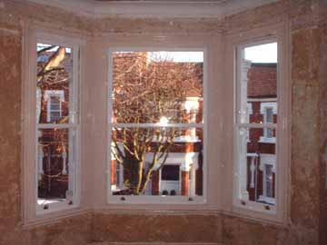 Bay sash window overhaul & draught proof ready for decoration