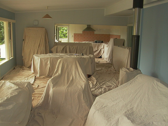 Dust sheets covering London house