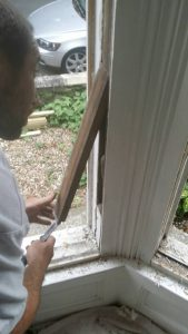 Remove pockets to replace broken sash cords