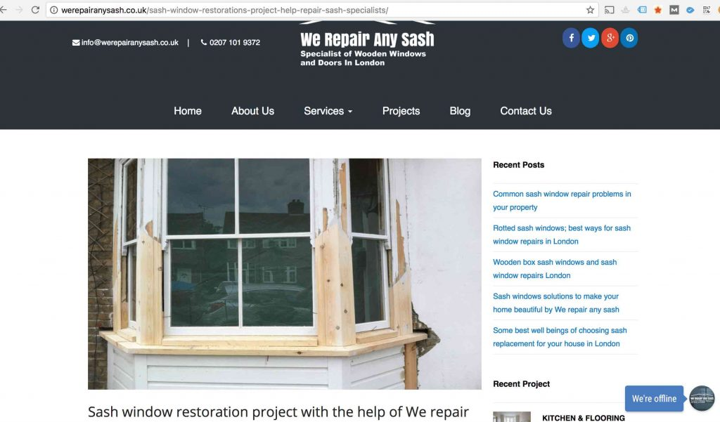 sash window repair company stealing other peoples work