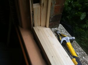 Sash window sill housed in using traditional joinery technique