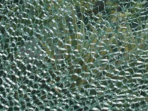 Toughened glass breaking into many small pieces