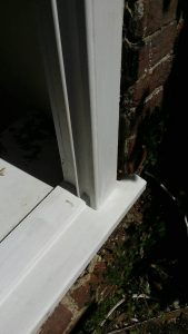 Sash window sill rebuilt primed and undercoated