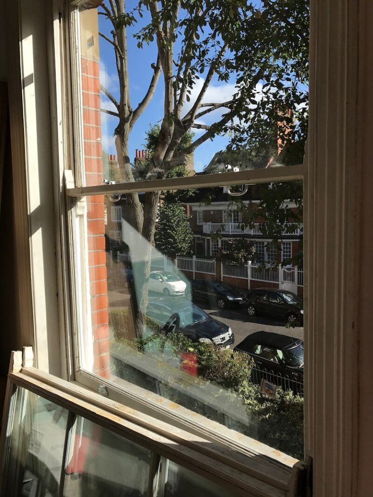 Chiswick and Hammersmith sash window double glazing, sash window sill renovation, and draught proofing case study