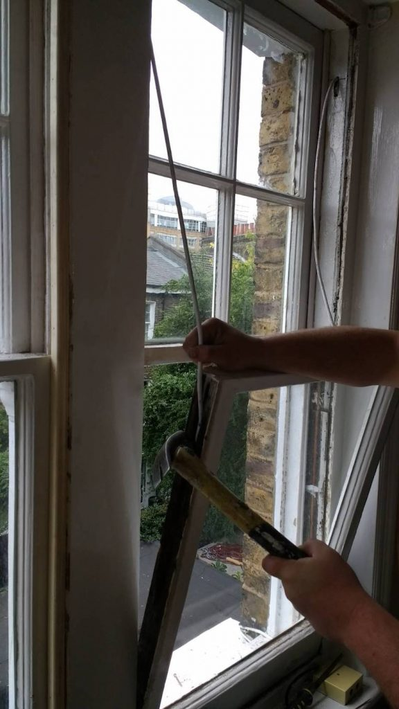 Kensington and Shepherd's Bush sash window draught proofing installed and windows being rebuilt