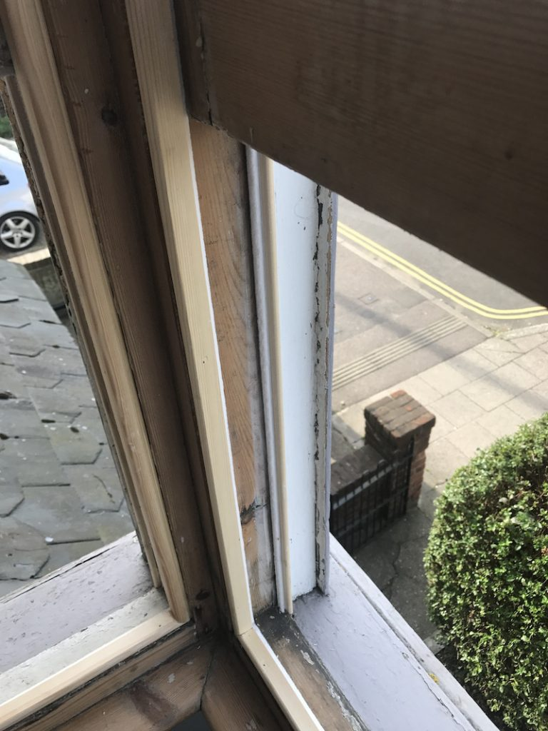 Crouch End and Holloway sash window refurbishment, sash window draught proofing, replacement glazing, and repair case study