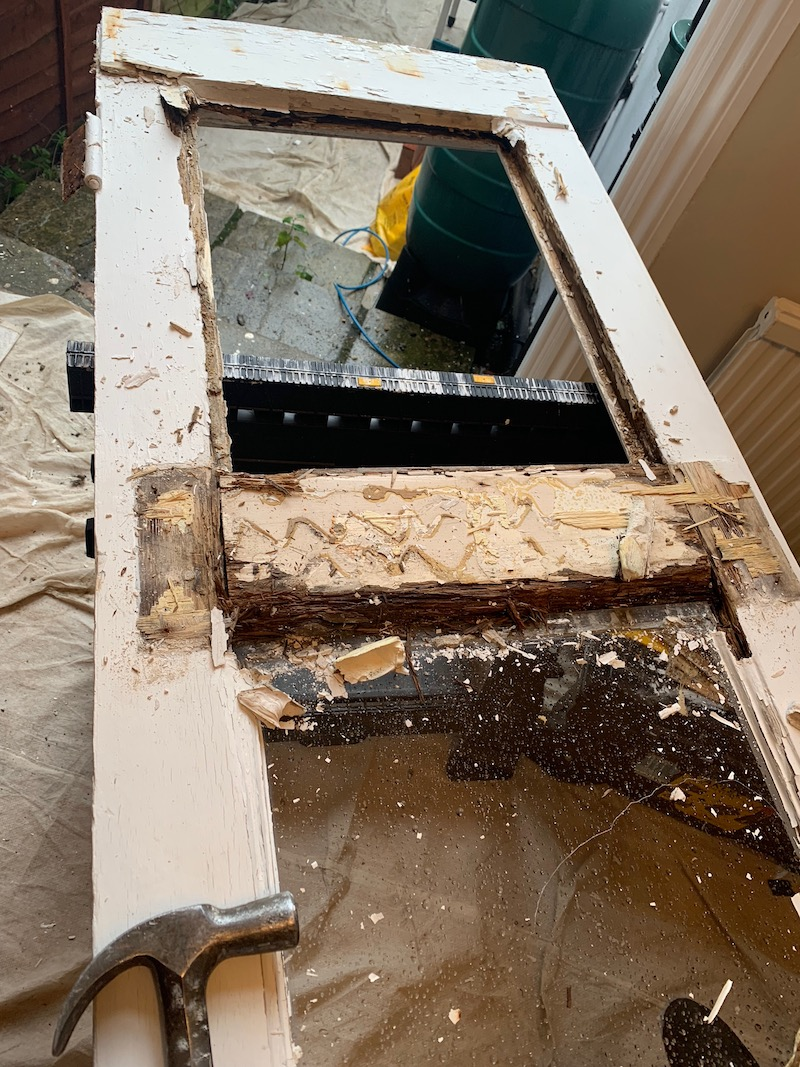 These French Doors look well beyond repair, we rebuilt them and saved the homeowner over £1600 on replacement.