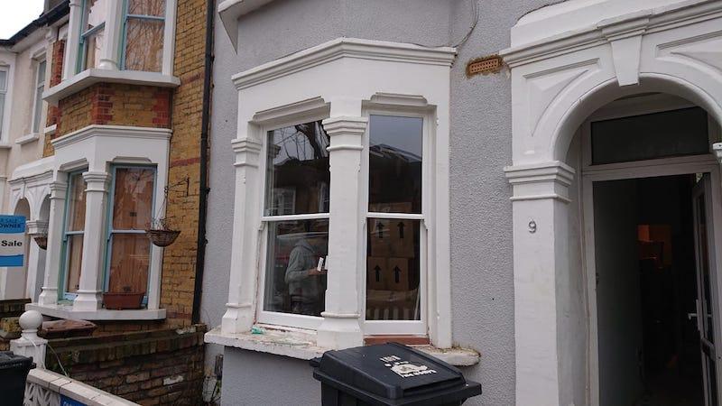 Hardwood sill section spliced on double glazed sash window