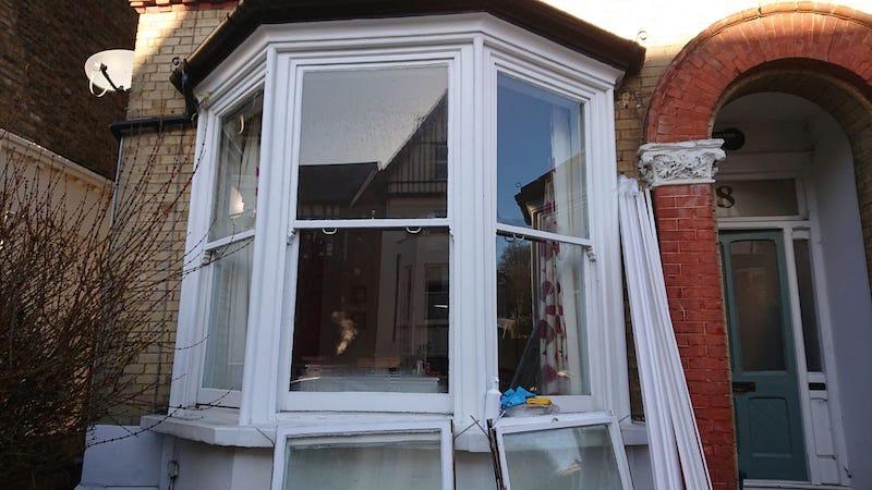 Sash window bay before we installed double glazed sash