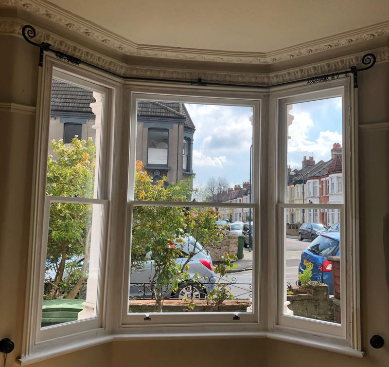 Another inside of a double glazed bay sash window ready for decoration