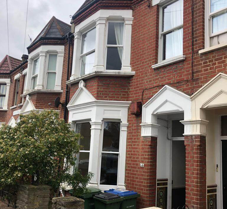 Double glazed sash windows at another angle