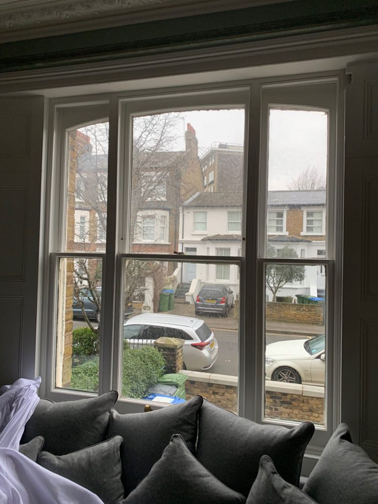 Venetian sash window internal aspect before new sash fitted into the original frame